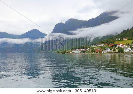 Aurland And Aurlandsfjord - Fiord Landscape In Sogn Og Fjordane Region Of Norway.