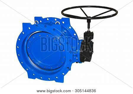 Large diameter gate valve, isolated on a white background poster
