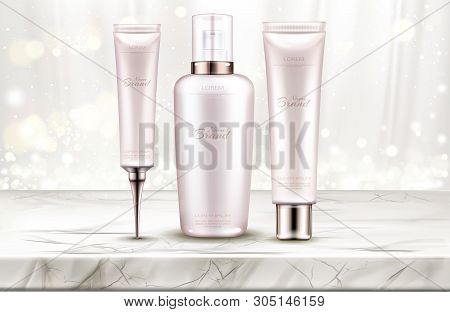 Cosmetics Bottles Mockup, Skin Care Beauty Product Line On Marble Table Top With White Silk Curtains