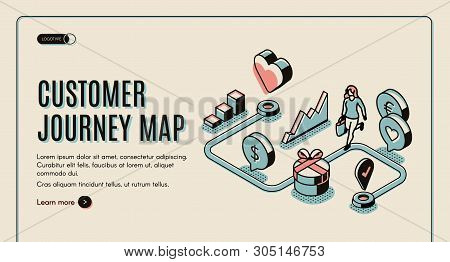 Customer Journey Map Banner. Process Of Purchasing Decision, Buyer Make Purchase Moving By Specified