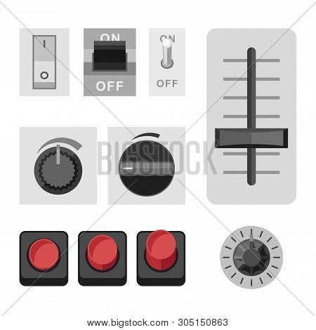 Switches Icons In Flat Style. Set With Varieties Of Switches And Selectors.