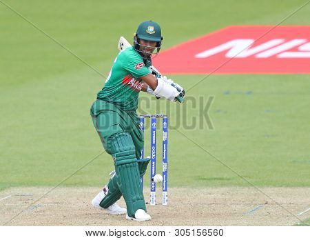 LONDON, ENGLAND. 05 JUNE 2019: Shakib Al Hasan of Bangladesh plays a shot during the Bangladesh v New Zealand, ICC Cricket World Cup match, at the Kia Oval, London, England.
