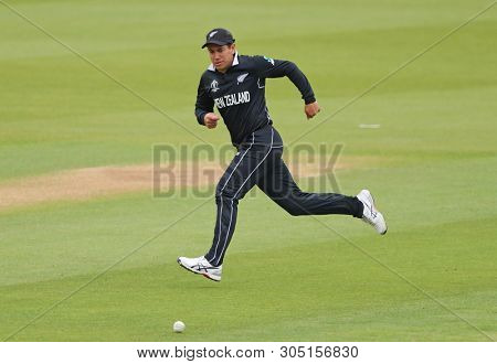LONDON, ENGLAND. 05 JUNE 2019: Ross Taylor of New Zealand chases the ball in the outfield during the Bangladesh v New Zealand, ICC Cricket World Cup match, at the Kia Oval, London, England.