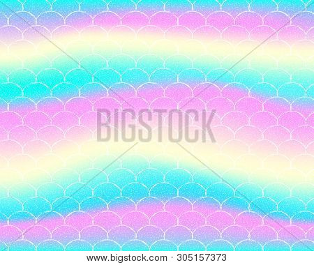 Bright Mermaid Pattern In Princess Colors. Fish Tail Banner With Rainbow Scales. Kawaii Mermaid Back