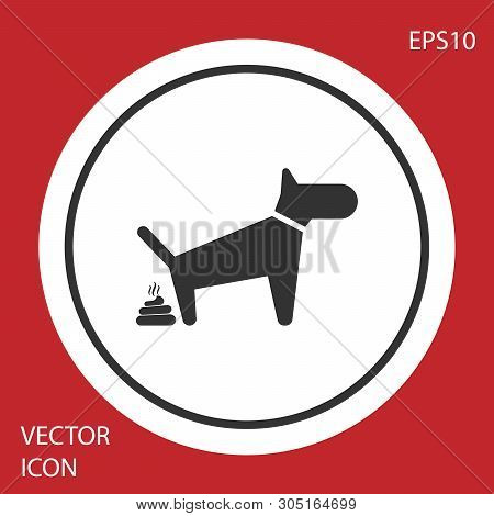 Grey Dog Pooping Icon Isolated On Red Background. Dog Goes To The Toilet. Dog Defecates. The Concept