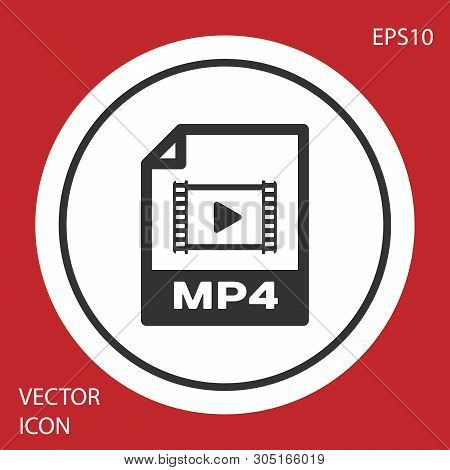 Grey Mp4 File Document Icon. Download Mp4 Button Icon Isolated On Red Background. Mp4 File Symbol. W