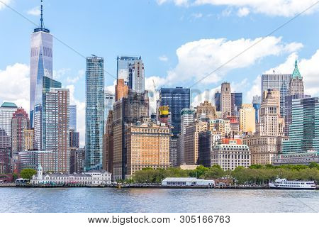 New York, Usa - May 16, 2019: One World Trade Center And Skyline Panorama Of Downtown Financial Dist
