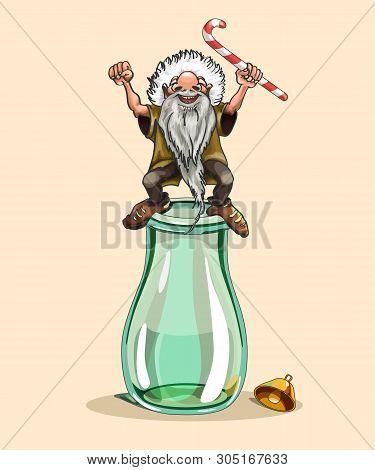 Old Man, Santa Claus, Santa Claus, Bottle, Jar, Holiday Greetings