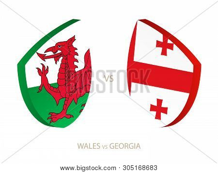 Wales V Georgia, Icon For Rugby Tournament. Rugby Vector Icon.