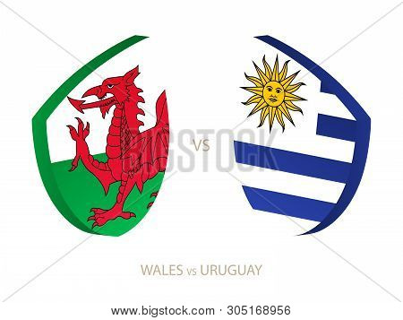 Wales V Uruguay, Icon For Rugby Tournament. Rugby Vector Icon.