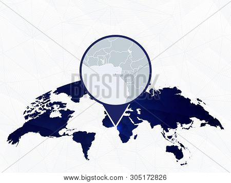 Sao Tome And Principe Detailed Map Highlighted On Blue Rounded World Map. Map Of Sao Tome And Princi
