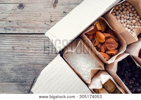 Zero Waste Delivery Concept. Eco-friendly Packing. Paper Bags With Organic Food, Zero Waste Shopping