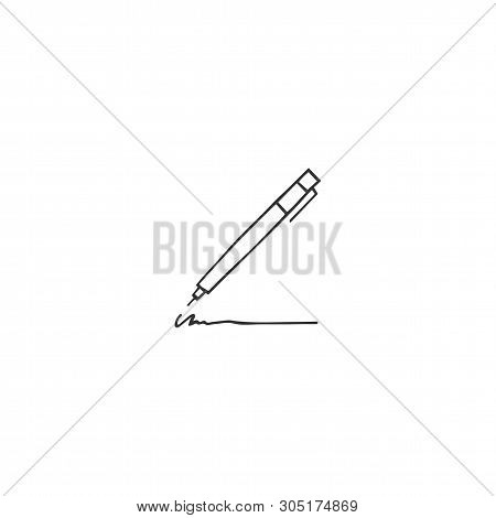 Vector Hand Drawn Logo Element, A Pen Icon. Writing, Copywrite And Publishing Theme. For Business Id