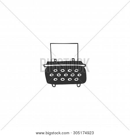 Vector Hand Drawn Icon, A Typewriter. Publishing, Writing And Copywriting Theme. For Business Brandi