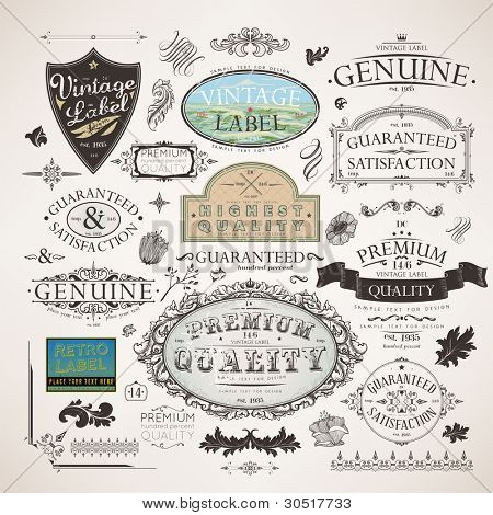 Vector set | calligraphic design elements, flowers and retro frames, Premium Quality and Satisfaction Guarantee vintage design Labels | Old style, vector collection. poster