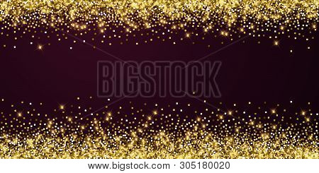 Sparkling Gold Luxury Sparkling Confetti. Scattered Small Gold Particles On Red Maroon Background. A