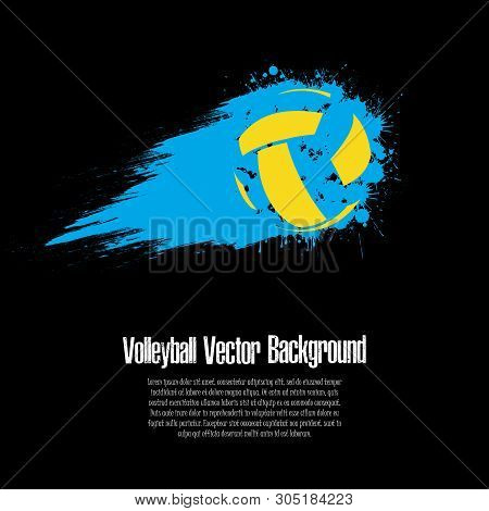 Grunge Volleyball Background. Abstract Baseball Ball Made From Blots. Volleyball Design Pattern. Vec