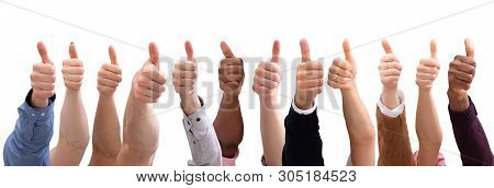 Group Of People  Hand Showing Thumb Sign