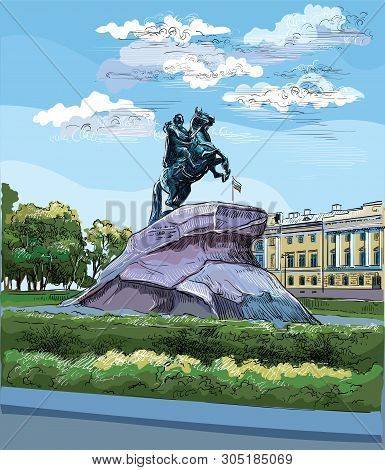 Cityscape Of  Monument Of Russian Emperor Peter The Great On Senate Square, Saint Petersburg, Russia