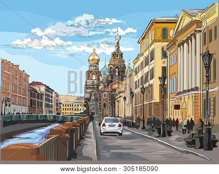Cityscape Of Church Of The Savior On Blood In Saint Petersburg, Russia And Embankment Of River. Colo