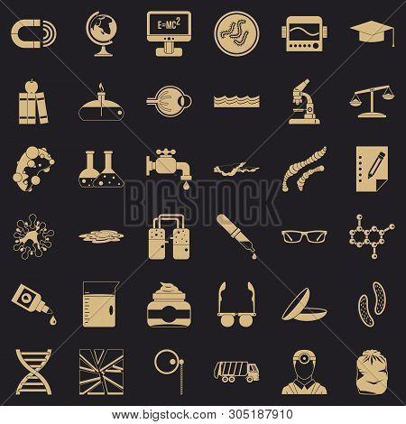 Scientific Widget Icons Set. Simple Set Of 36 Scientific Widget Vector Icons For Web For Any Design