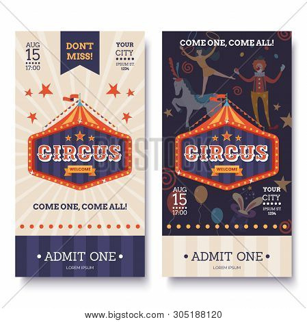Circus Ticket Template In White And Dark Colors. Circus Invitation Banner In Retro Style. Colorful S