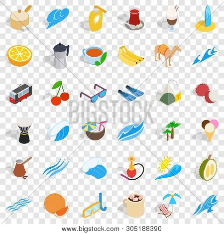 Ankara Icons Set. Isometric Style Of 36 Ankara Vector Icons For Web For Any Design