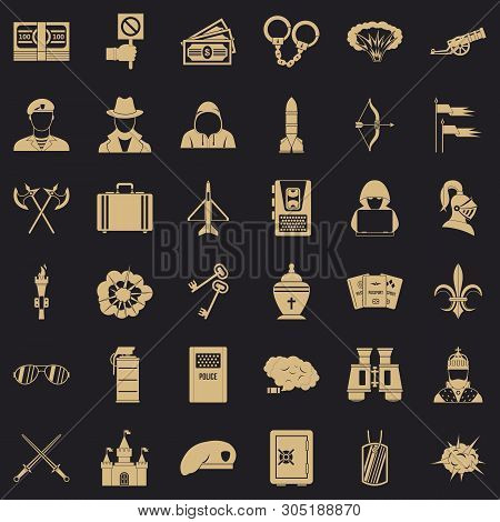 War Army Icons Set. Simple Set Of 36 War Army Vector Icons For Web For Any Design