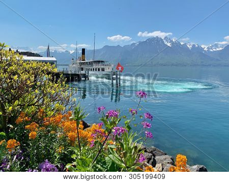 Spring flowers and ferry view in Montreux, Switzerland
