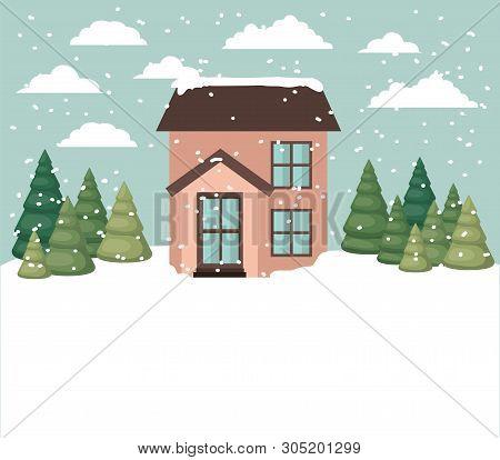 Snowscape With Cute House Scene Vector Illustration Design