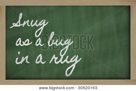 Expression -  Snug As A Bug In A Rug - Written On A School Blackboard With Chalk