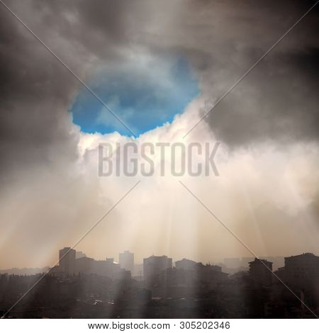 elevated view of cityscape view of residential buildings in fogy morning over stormy sky in Istanbul, Turkey