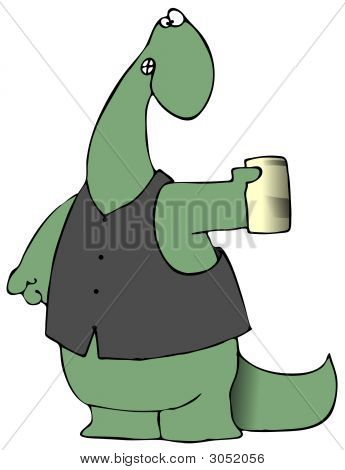 This illustration depicts a dinosaur wearing a leather vest and holding a beer or soda can. poster