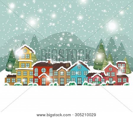 City Urban In Snowscape Scene Vector Illustration Design