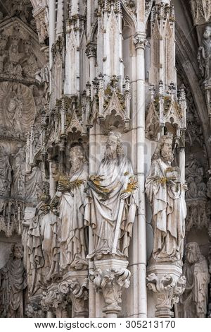 Facade detail of St. Peter's Cathedral (Dom St. Peter or Regensburger Dom), en example of pure German Gothic