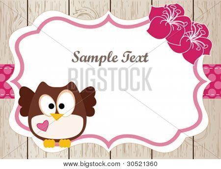 Wooden card with cute owl and flowers