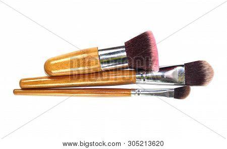 Set Of Makeup Brushes Isolated On White Background.
