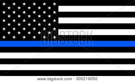 Usa Flag With A Thin Blue Line - A Sign To Honor And Respect American Police, Army And Military Offi