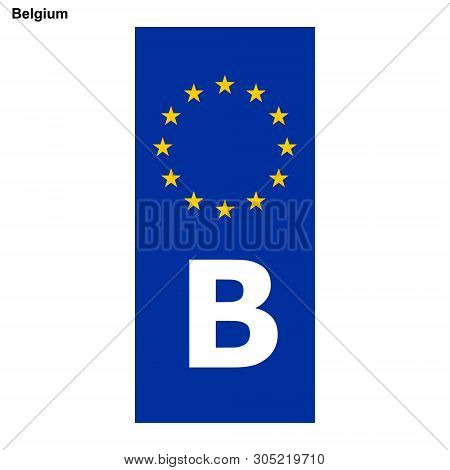Vehicle Registration Plates Of Belgium. Eu Country Identifier. Blue Band On License Plates