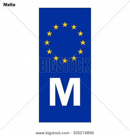 Vehicle Registration Plates Of Malta. Eu Country Identifier. Blue Band On License Plates