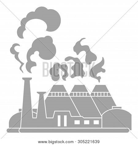 Industrial Factory Building. Silhouette Nuclear Power Plant. Flat Vector Icon.industry Concept Manuf