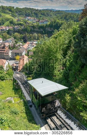 Fribourg, Fr / Switzerland / 30 May 2019: The Historic Funicular Tramway Connecting Upper And Lower