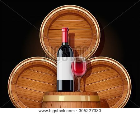 Wooden Barrel And Bottle. Vessel For Keeping Wine, Beer And Beverage. Equipment For Pub And Wine Cel