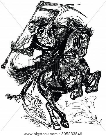 Grim Reaper Horseman Holding A Scythe And Sitting On Horseback. Dark Rider Of The Death. Horse In Th
