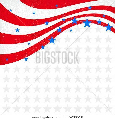 Patriotic Wave Background. Usa Patriotic Background. Independence Day Cards. Holiday Background Vect