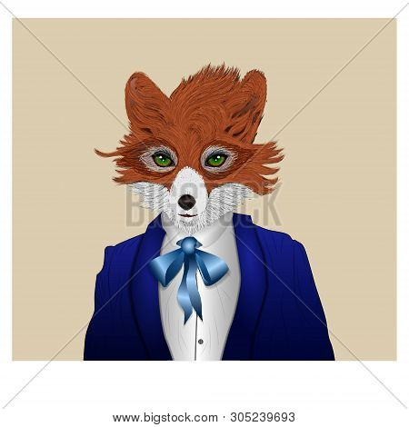 Fox Dressed In A Tuxedo With Present, Anthropomorphic Illustration, Festive Character, Vector Illust