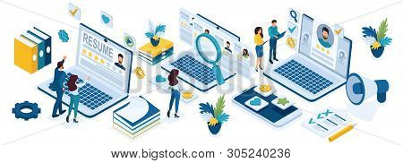 Isometric Recruitment Of Business People, Recruitment Concept, Hr Managers, Job Seekers, Resumes.