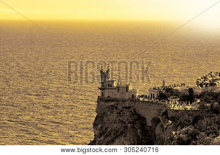 Beautiful Scenic View Of The Castle At The Precipice. Castle Of Swallow's Nest On The Rock, Crimea,