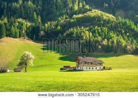Countryside Landscape. Farm House In Countryside Landscape. Alpine Countryside Landscape. Landscape