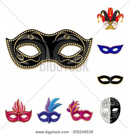 Isolated object of carnival and theatrical symbol. Collection of carnival and mystery stock vector illustration. poster